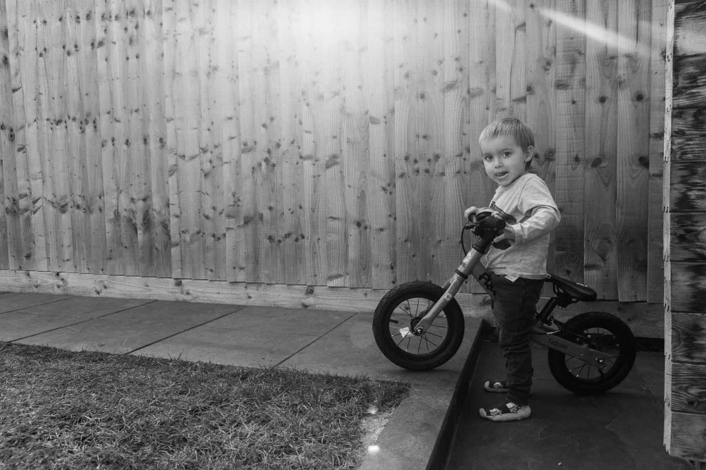 Young boy with his bike
