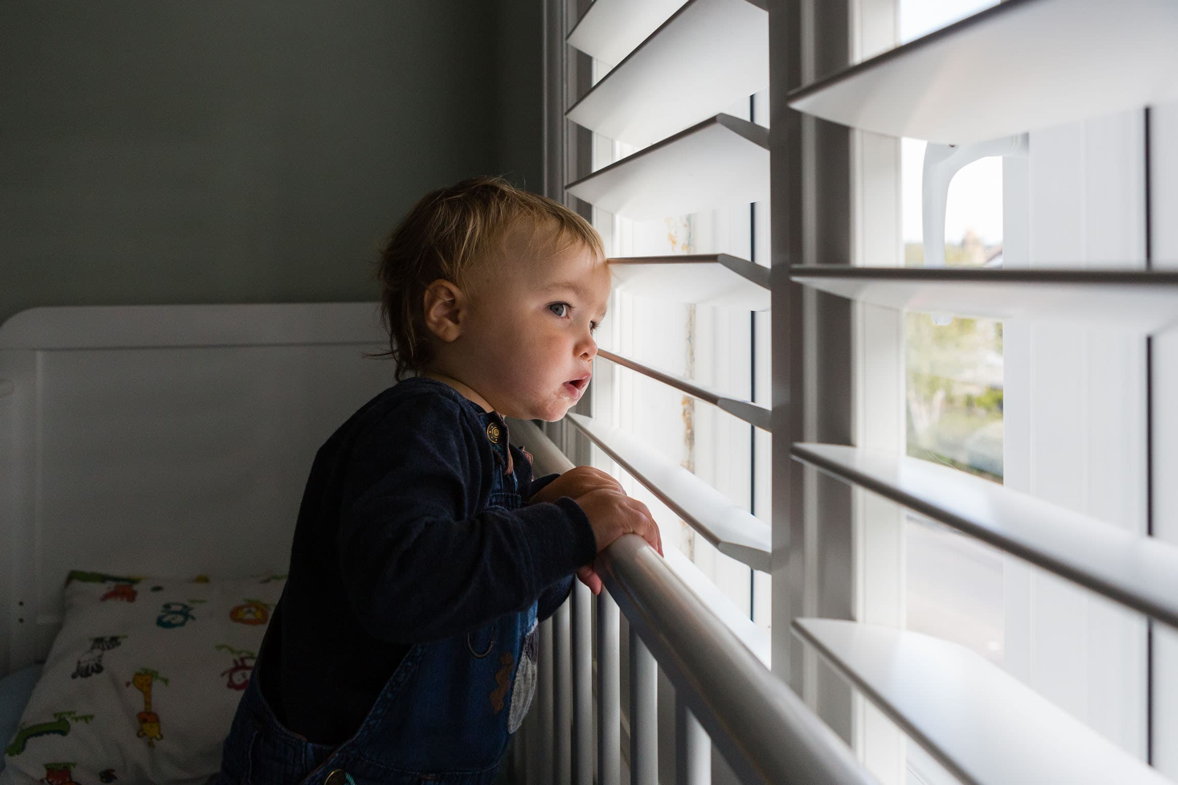 Little boy looking for buses out a window | Bath Family Photography