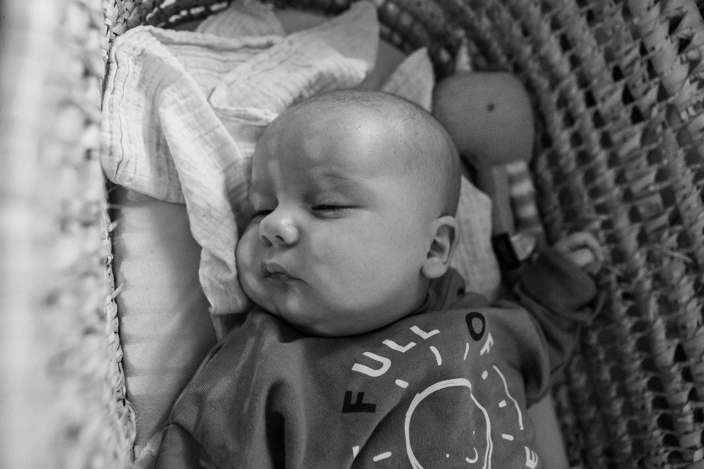 Baby asleep in Moses basket | Bath Family Photography