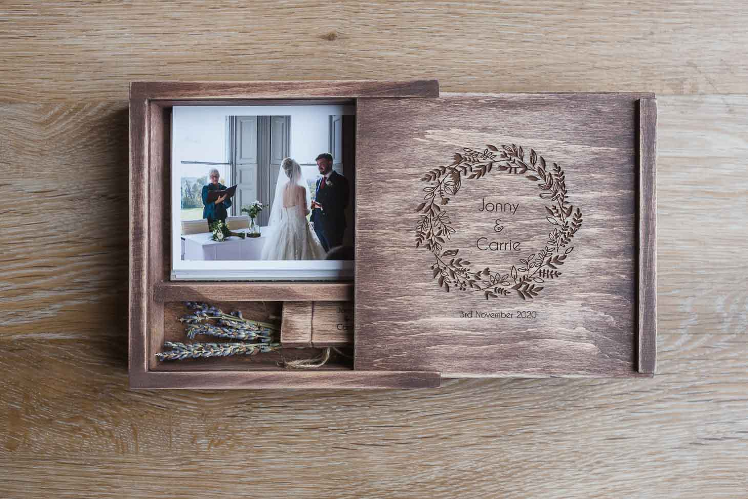 Presentation Box of Wedding Photographer Rose Dedman